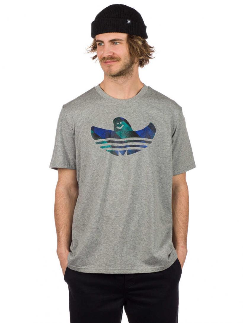 adidas Shmoo Fill T-Shirt Core Heather/Black/Active | Mens T-Shirts