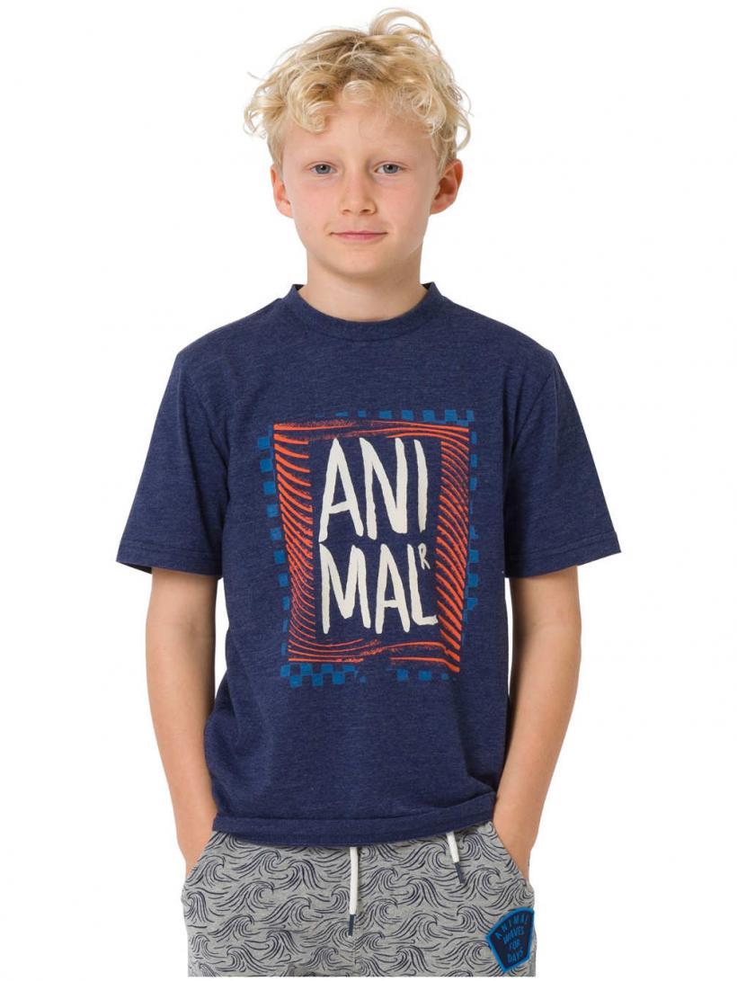 Animal Checkers T-Shirt Nautical Blue Marl | Mens T-Shirts