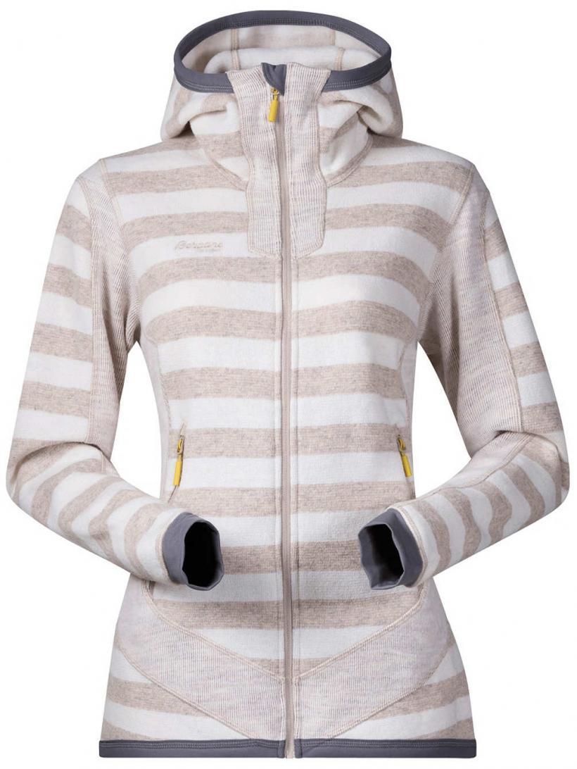 Bergans Hollvin Wool Fleece Jacket Cream/Light Beige Striped | Womens Jackets