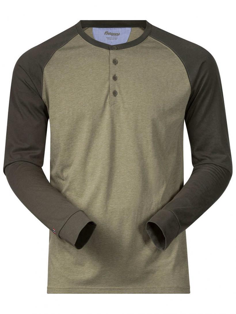 Bergans Ryvingen Long Sleeve T-Shirt Khakigreen Mel/Seaweed | Mens Longsleeves