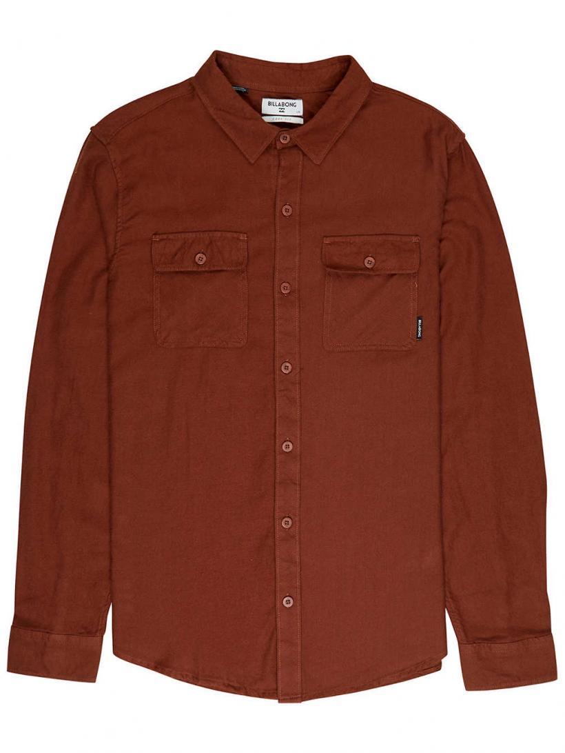 Billabong All Day Flannel Shirt LS Rust Brown | Mens Shirts