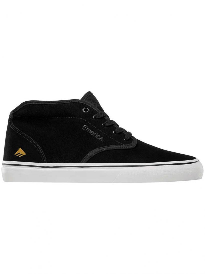 Emerica Wino G6 Mid Black/White/Gold | Mens Skate Shoes