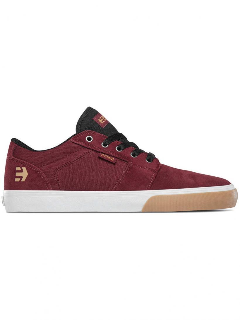 Etnies Barge LS Burgundy/Tan/White | Mens Skate Shoes
