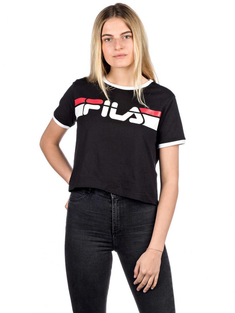 Fila Ashley Cropped T-Shirt Black/Bright White | Mens/Womens T-Shirts