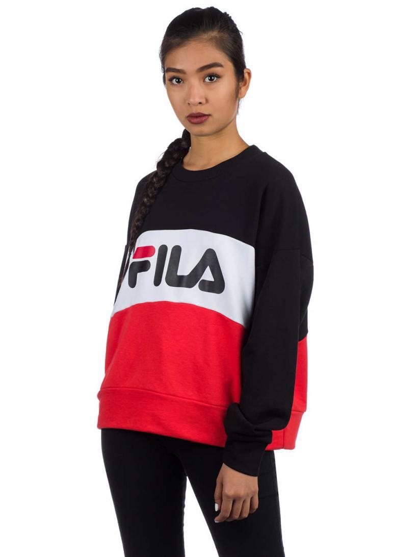 Fila Leah Crew Sweater Bright White/Black/High | Womens Sweatshirts