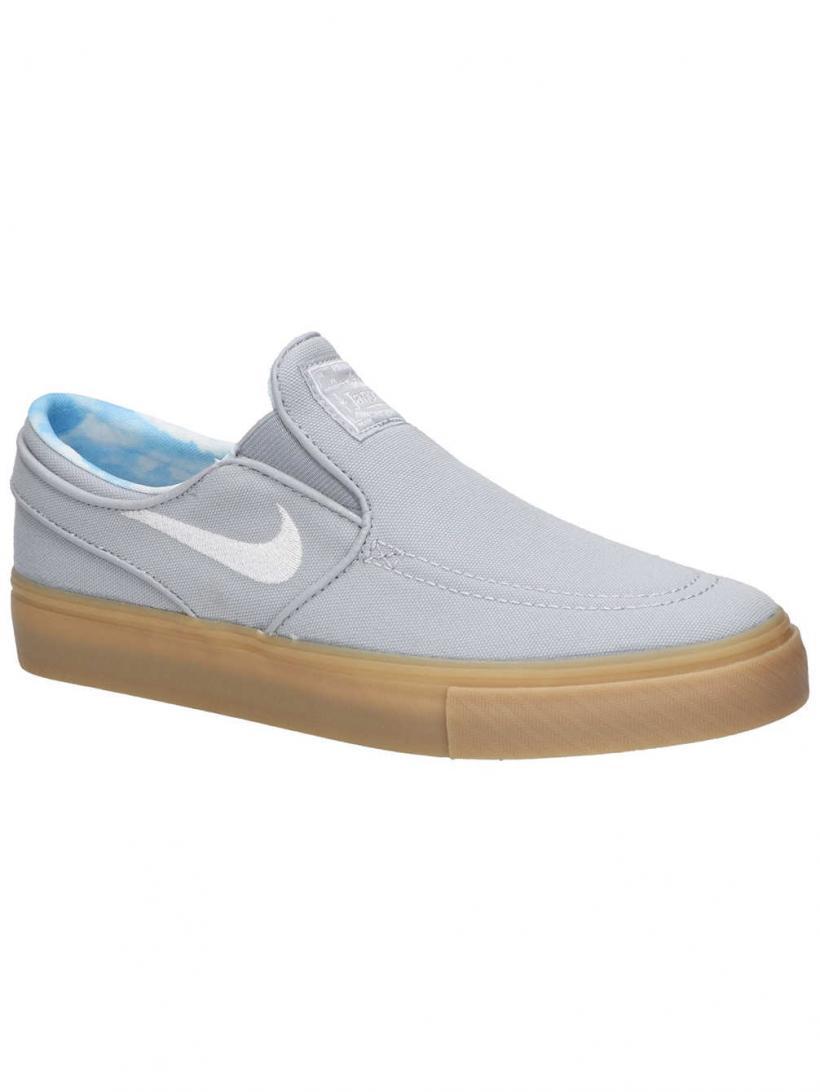 Nike Stefan Janoski PRT GS Wolf Grey/White/Gum Light | Mens Skate Shoes