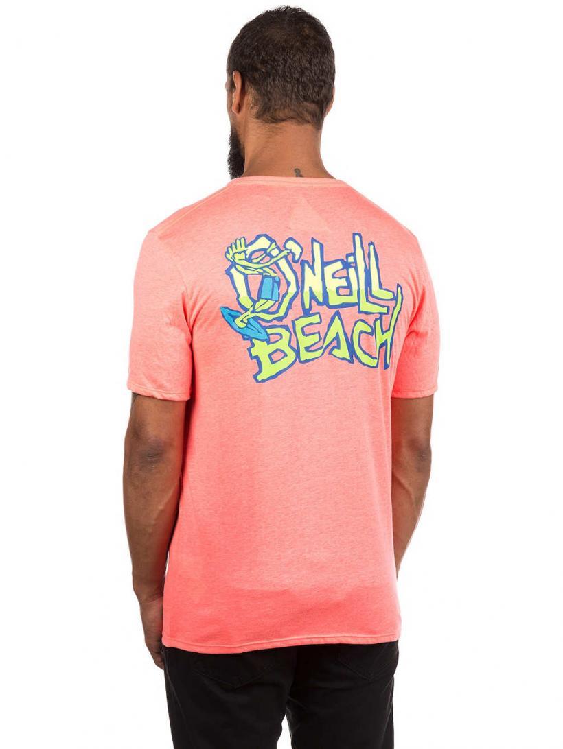 O'Neill 88 Beach T-Shirt Neon Tangerine Pink | Mens T-Shirts