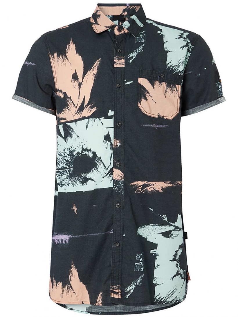 O'Neill Allover Flowal Shirt Grey Aop W/ Pink-Purple | Mens Shirts