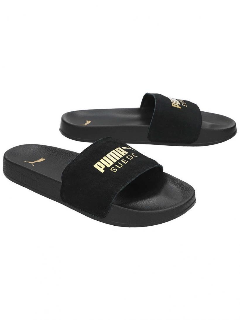 Puma Leadcat Suede Slide Puma Black/Puma Team Gold | Mens Sandals