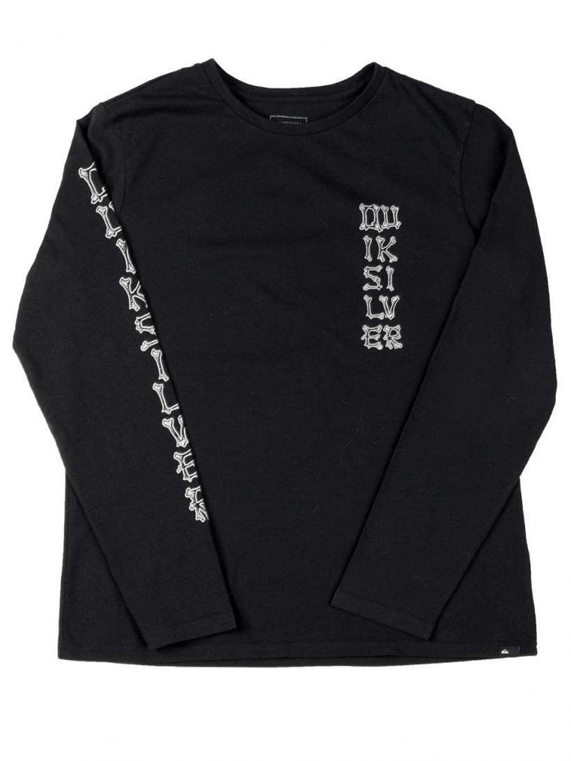 Quiksilver Bone Party Long Sleeve T-Shirt Black | Mens Longsleeves