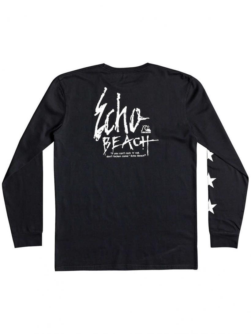 Quiksilver Echo Star Long Sleeve T-Shirt Black | Mens Longsleeves