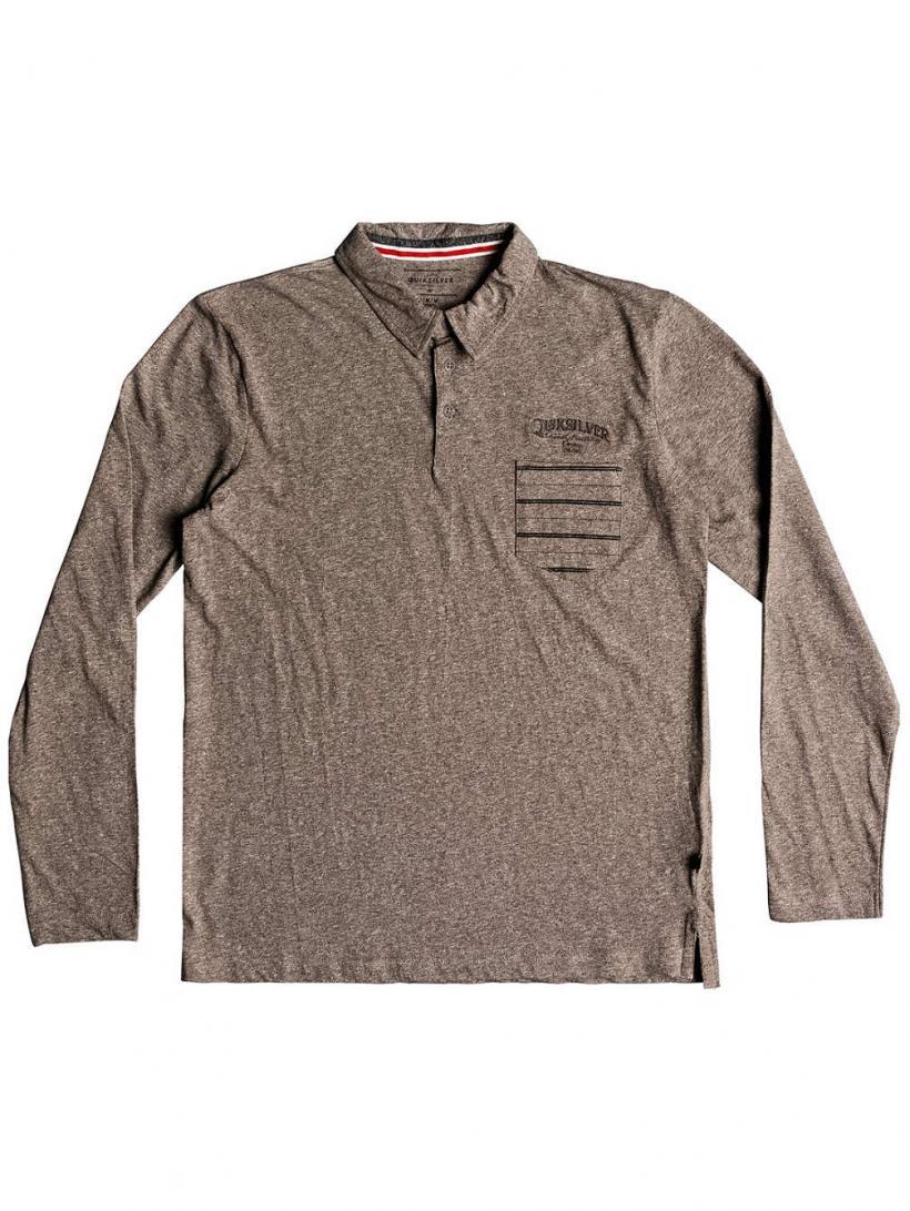 Quiksilver Shd Polo Long Sleeve T-Shirt Elmwood Heather | Mens Longsleeves