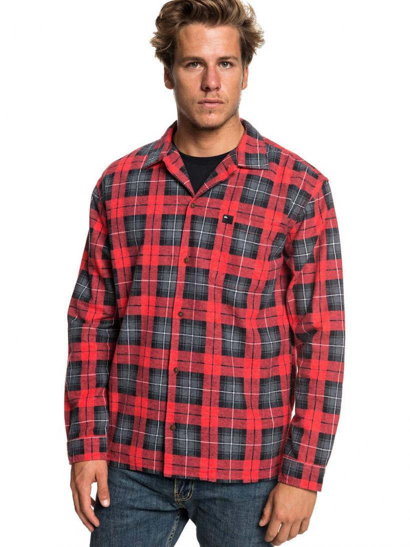 Quiksilver Storm Warning Shirt LS High Risk Red Storm Warni | Mens Shirts