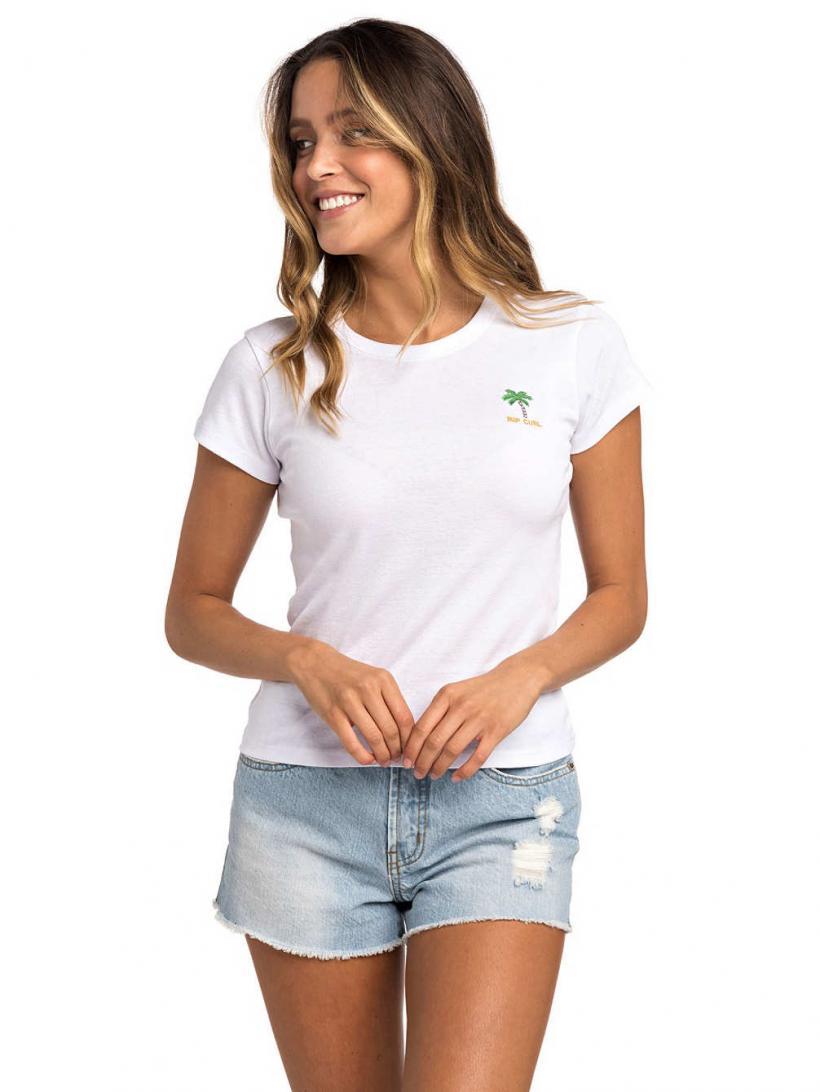 Rip Curl Revived Rib T-Shirt White | Mens/Womens T-Shirts