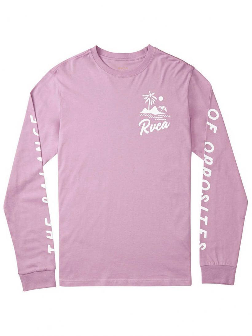 RVCA Mai Thai Long Sleeve T-Shirt Lavender | Mens Longsleeves