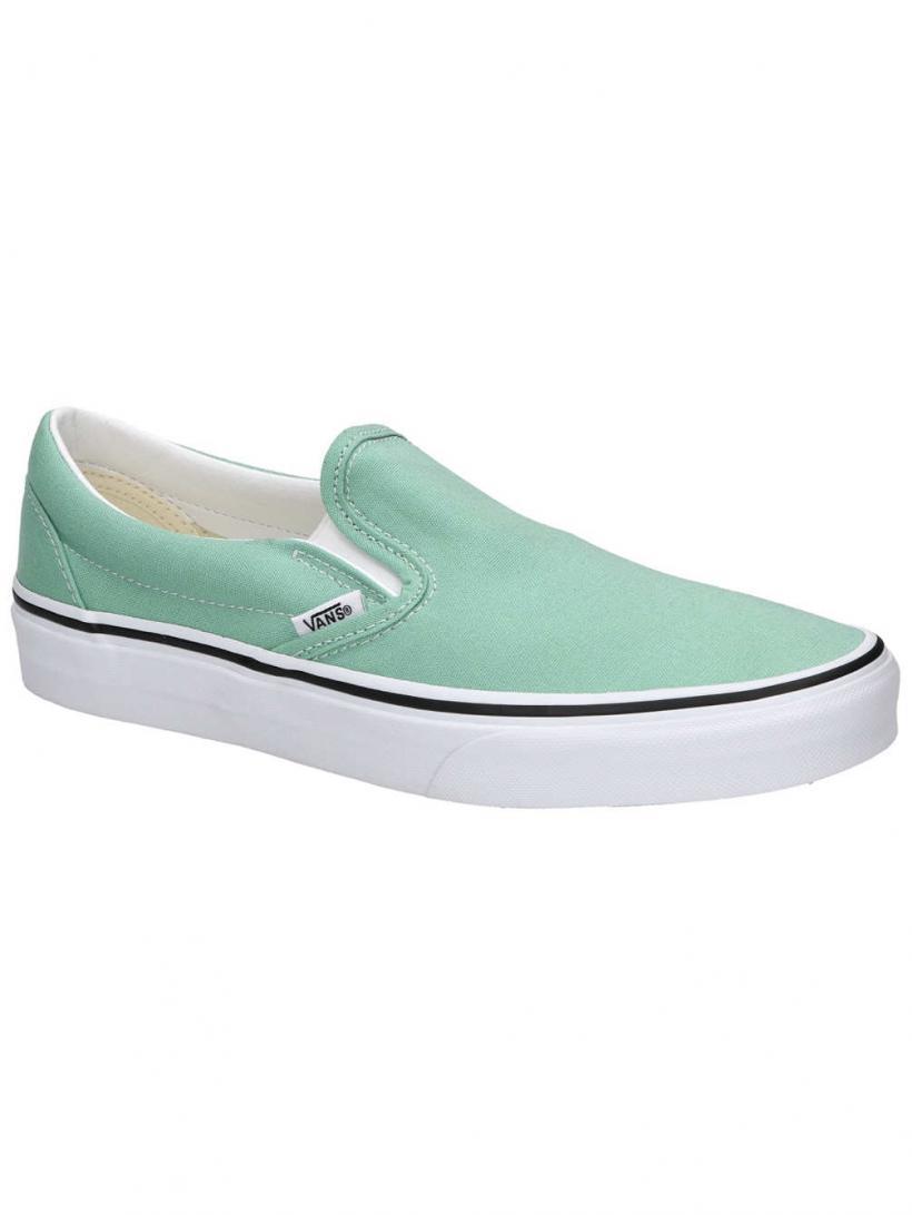 Vans Classic Slip-Ons Neptune Green/True White | Mens/Womens Slip-Ons