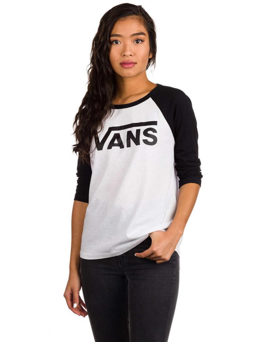 Vans Flying V Raglan Long Sleeve T-Shirt White/Black | Mens/Womens Longsleeves