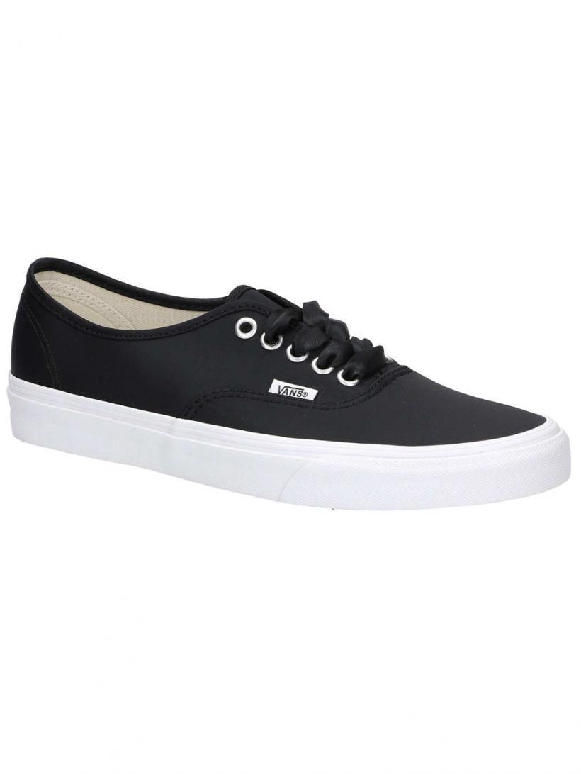 Vans Satin Lux Authentic Black/True White | Mens/Womens Sneakers