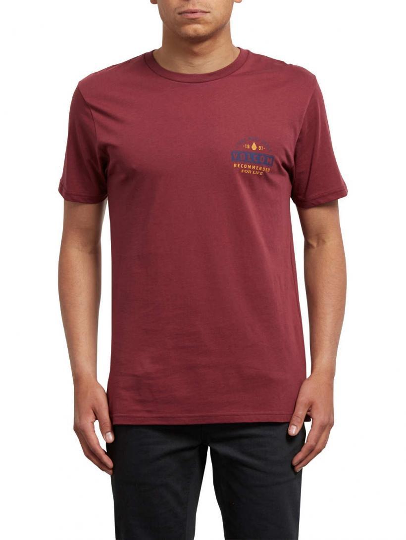 Volcom Barred Bsc T-Shirt Crimson | Mens T-Shirts