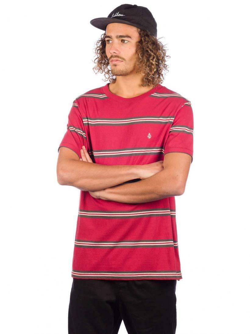 Volcom Beauville Crew T-Shirt Burgundy | Mens T-Shirts