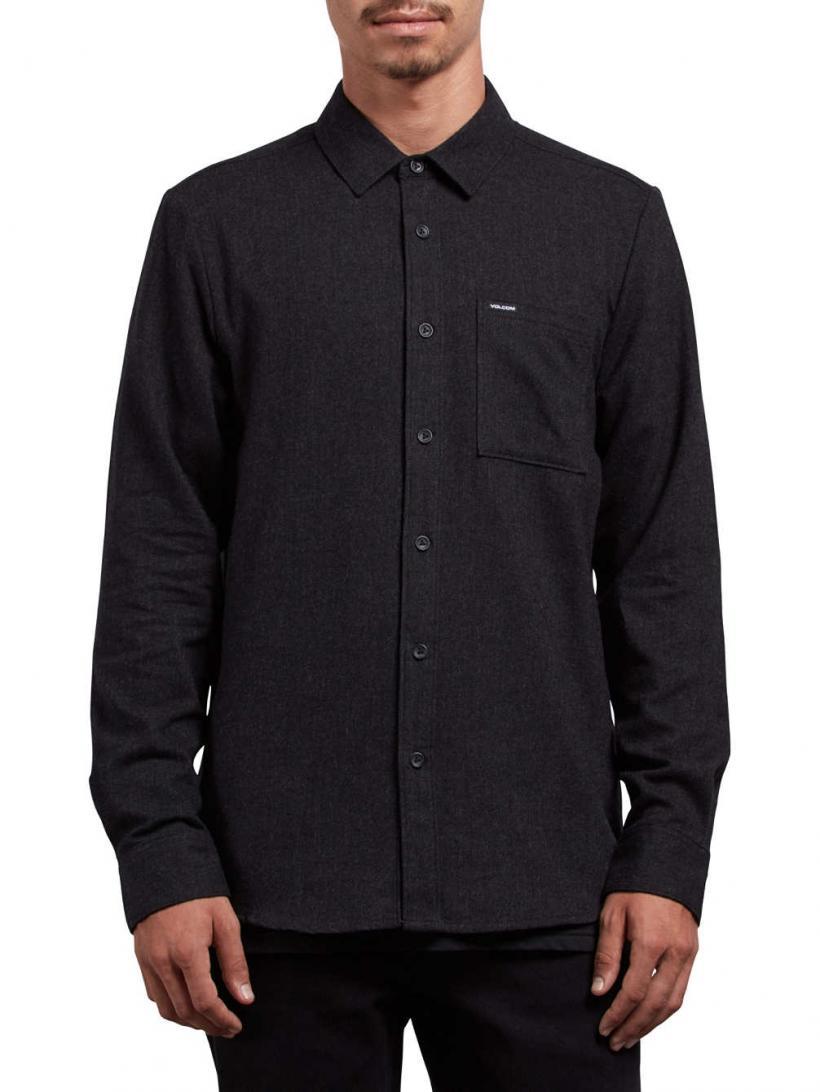 Volcom Caden Solid Shirt LS Black | Mens Shirts