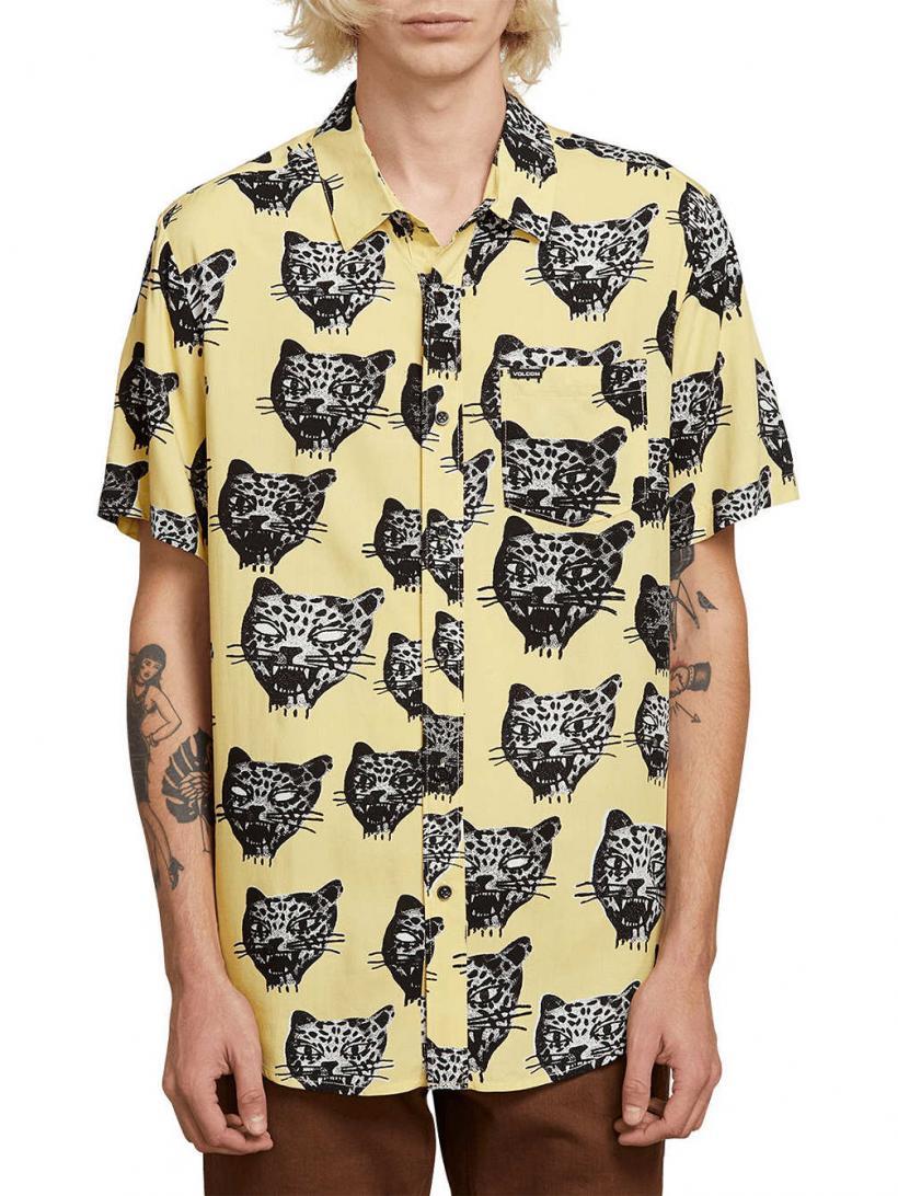 Volcom Ozzie Cat Shirt Lime | Mens Shirts