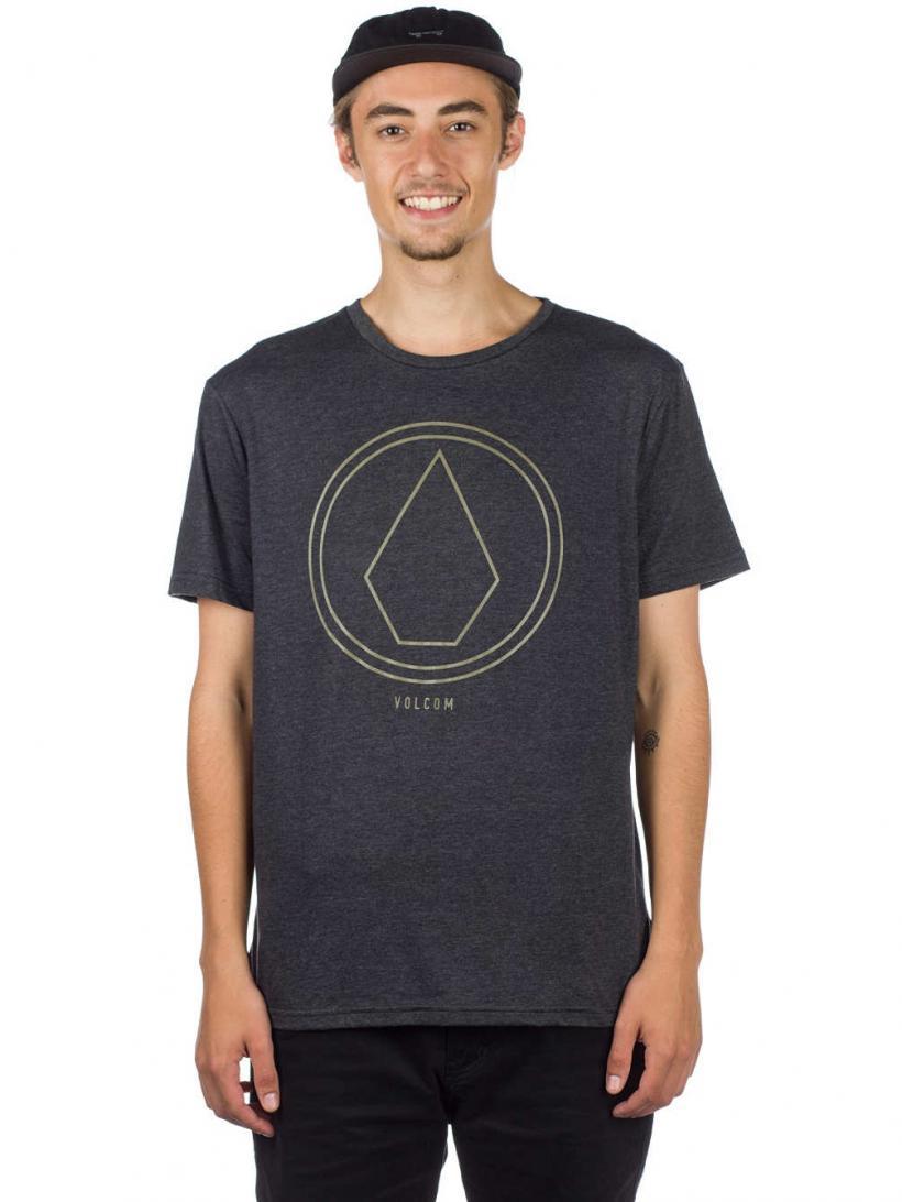 Volcom Pinline Stone Heather T-Shirt Heather Black | Mens T-Shirts