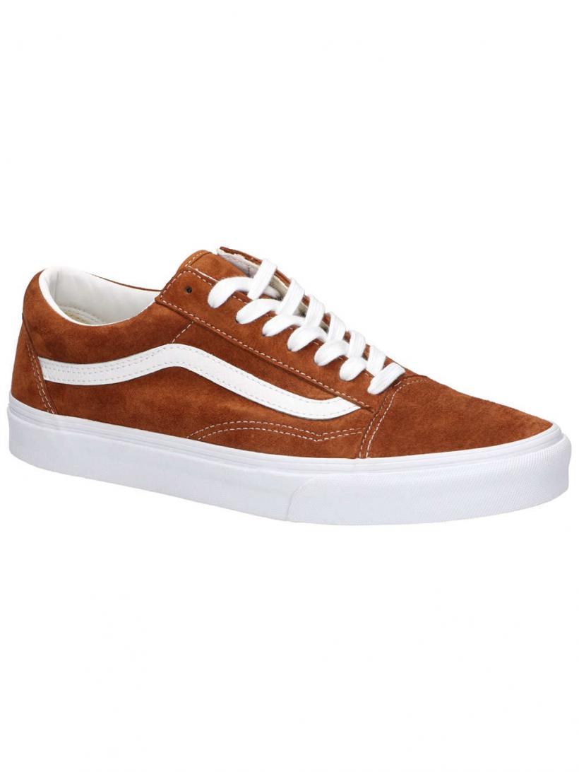 Vans Pig Suede Old Skool Leather Brown/True White | Mens Sneakers