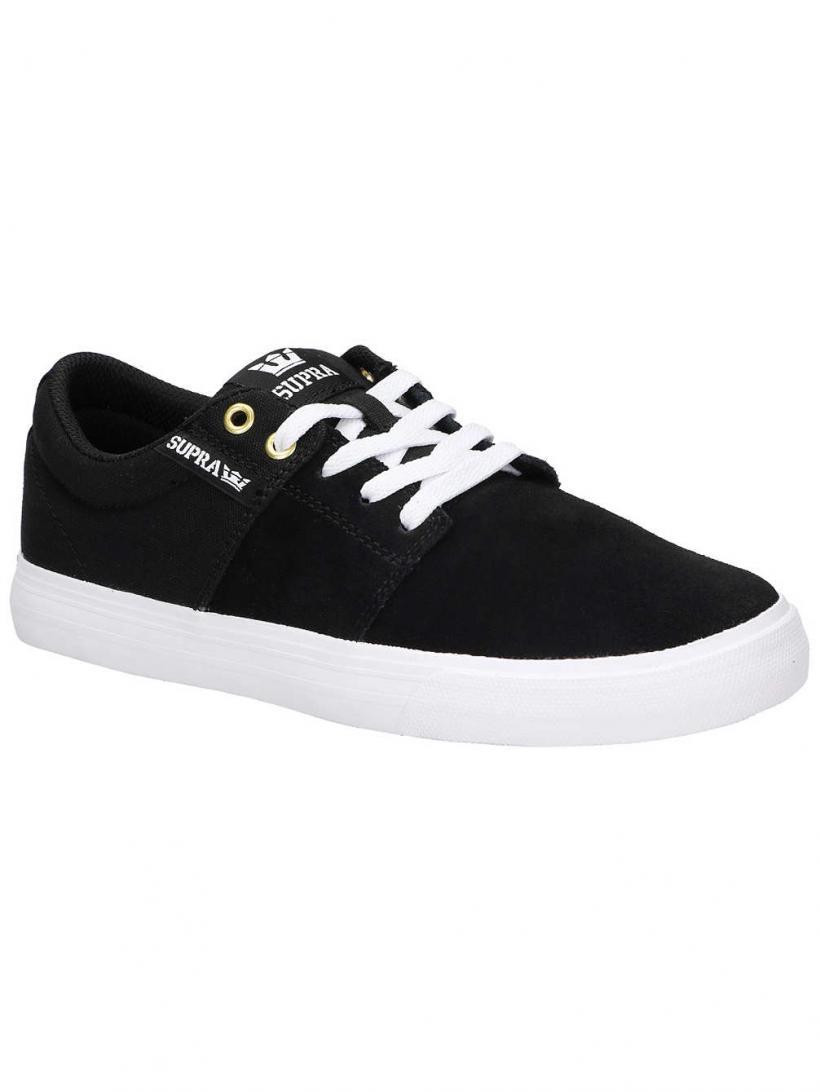 Supra Stacks II Vulc Black/Black/White   Mens Skate Shoes