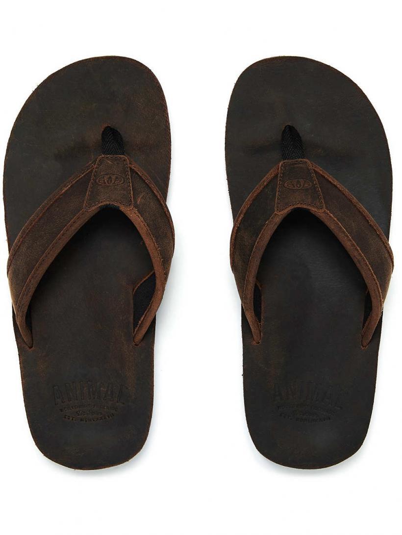 Animal Jekyl Leather Dark Brown | Mens Sandals