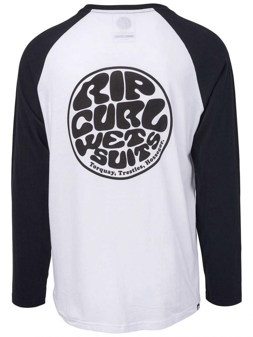 Rip Curl Original Raglan Long Sleeve T-Shirt Black/White | Mens Longsleeves