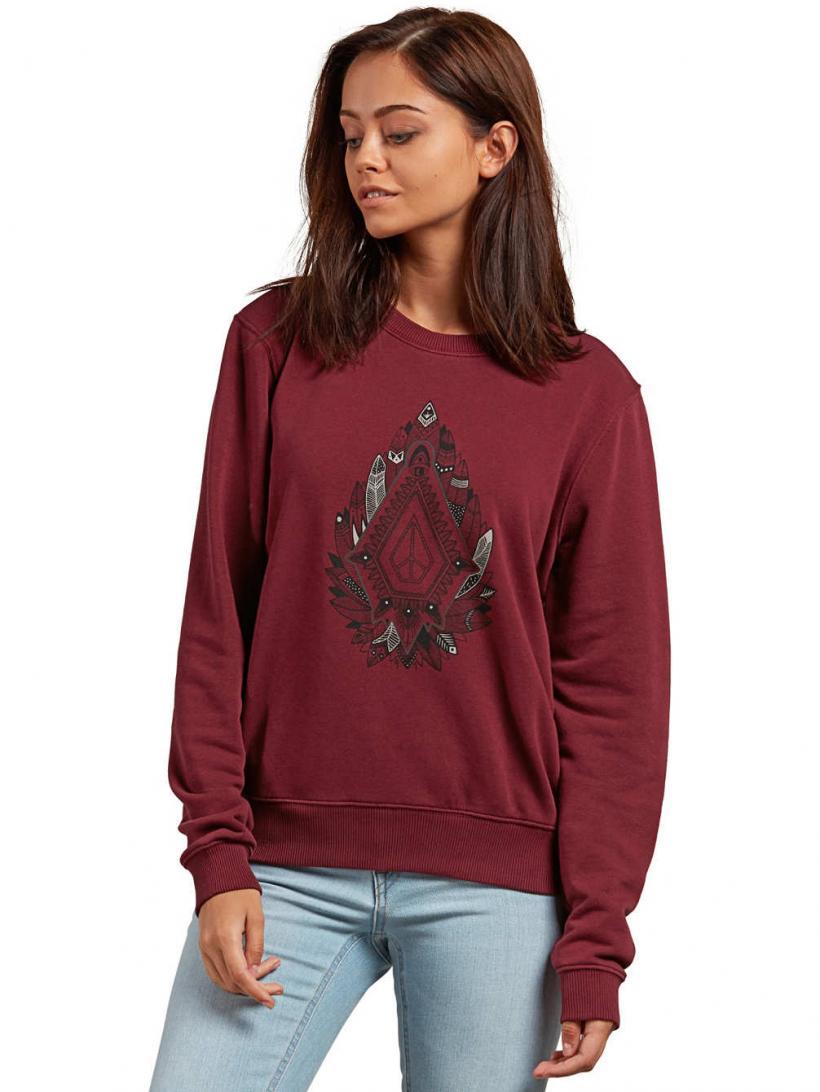 Volcom Sound Check Fleece Sweater Burgundy | Womens Pullovers